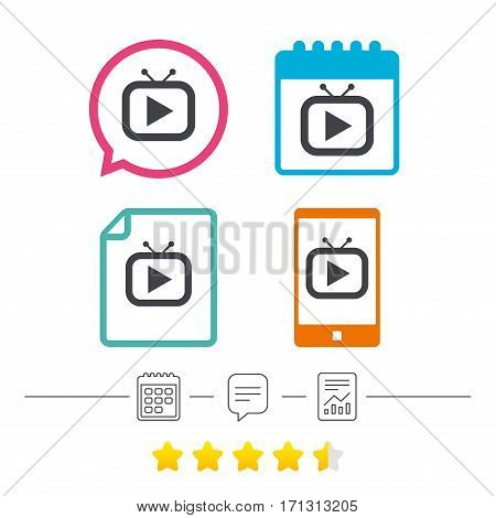 Retro TV mode sign icon. Television set symbol. Calendar, chat speech bubble and report linear icons. Star vote ranking. Vector