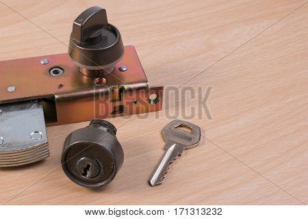 Assembly Of Aluminium Door Lock For Installation, Adjustment Or Repair. Part Of Aluminium Door Locks