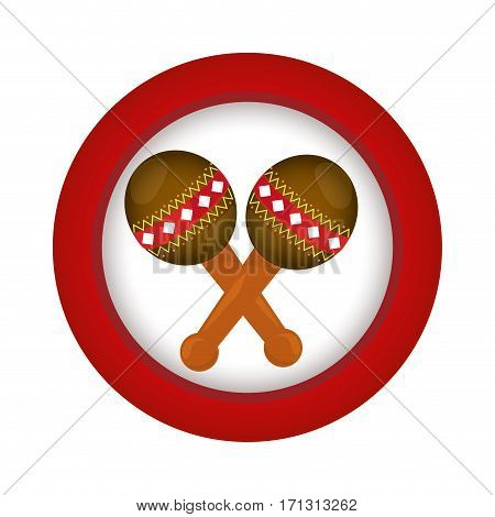 red circle with pair of maracas vector illustration
