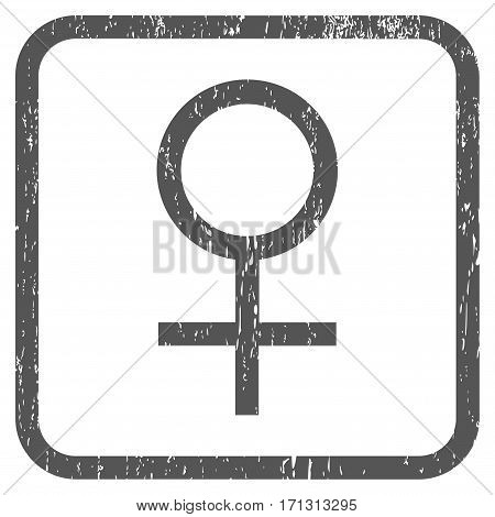 Venus Female Symbol rubber watermark. Vector pictogram symbol inside rounded rectangular frame with grunge design and dirty texture. Stamp seal illustration.