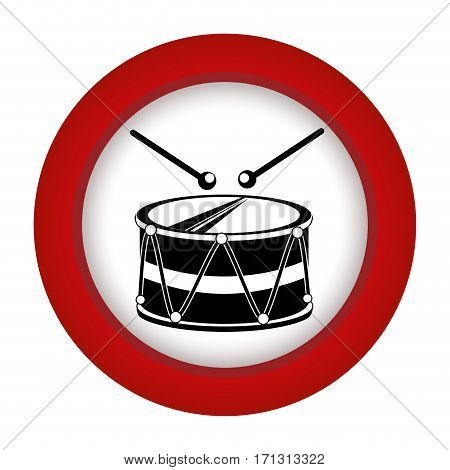 red circle with drum and drum stick vector illustration