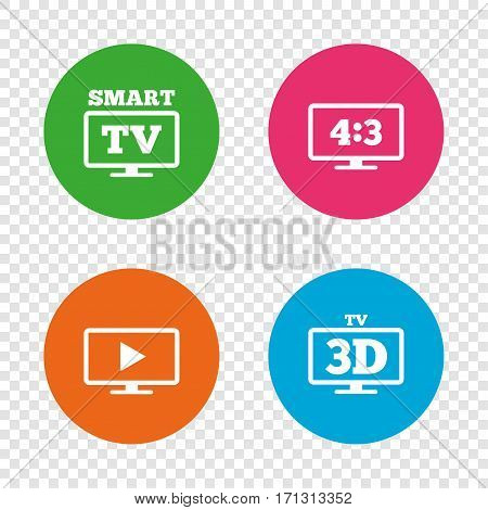 Smart TV mode icon. Aspect ratio 4:3 widescreen symbol. 3D Television sign. Round buttons on transparent background. Vector