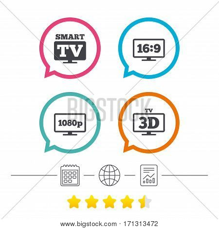 Smart TV mode icon. Aspect ratio 16:9 widescreen symbol. Full hd 1080p resolution. 3D Television sign. Calendar, internet globe and report linear icons. Star vote ranking. Vector