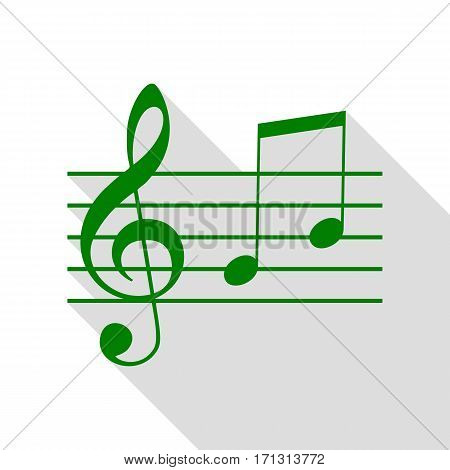 Music violin clef sign. G-clef and notes G, H. Green icon with flat style shadow path.