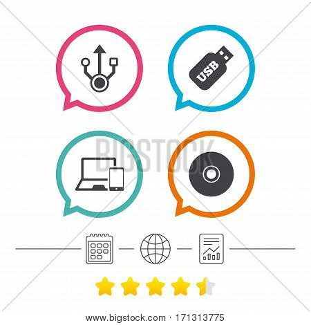 Usb flash drive icons. Notebook or Laptop pc symbols. Smartphone device. CD or DVD sign. Compact disc. Calendar, internet globe and report linear icons. Star vote ranking. Vector