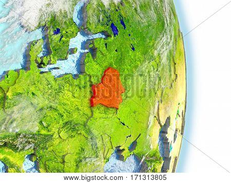 Belarus In Red On Earth