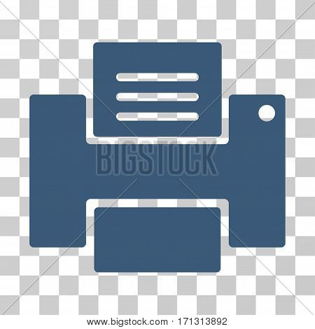 Printer icon. Vector illustration style is flat iconic symbol blue color transparent background. Designed for web and software interfaces.