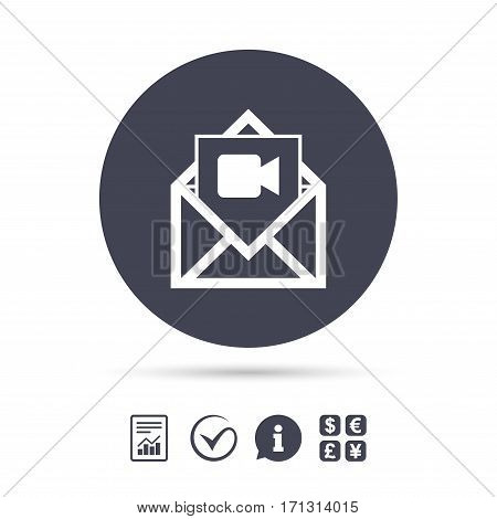 Video mail icon. Video camera symbol. Message sign. Report document, information and check tick icons. Currency exchange. Vector