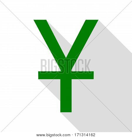 Chinese Yuan sign. Green icon with flat style shadow path.