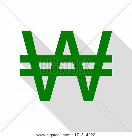 Won sign. Green icon with flat style shadow path.