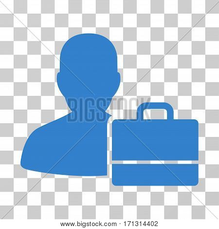 Accounter icon. Vector illustration style is flat iconic symbol cobalt color transparent background. Designed for web and software interfaces.