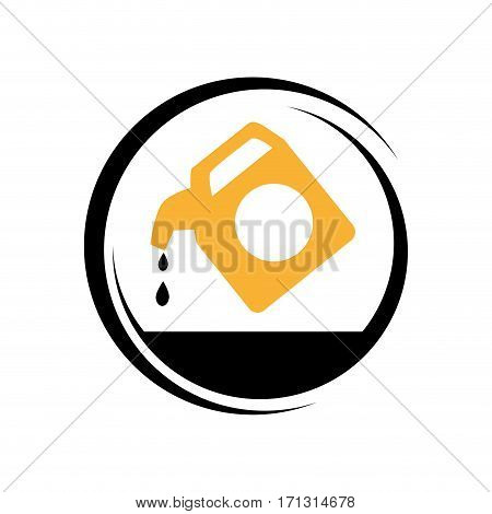 circular frame with container of petroleum vector illustration