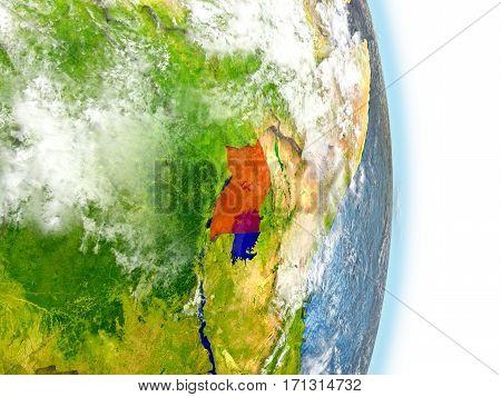 Uganda In Red On Earth