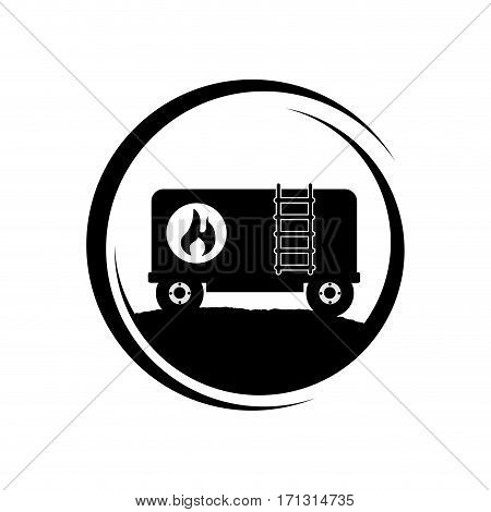 monochrome circular frame with fuel trailer vector illustration