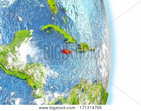 Jamaica In Red On Earth