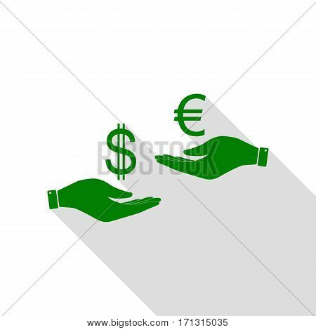 Currency exchange from hand to hand. Dollar adn Euro. Green icon with flat style shadow path.