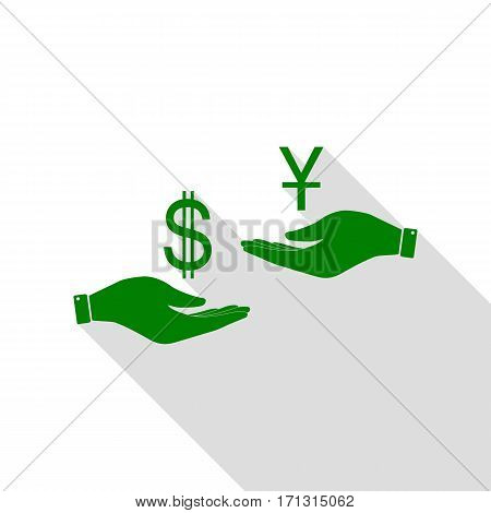 Currency exchange from hand to hand. Dollar and Yuan. Green icon with flat style shadow path.
