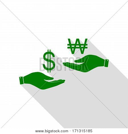 Currency exchange from hand to hand. Dollar and South Korea Won. Green icon with flat style shadow path.