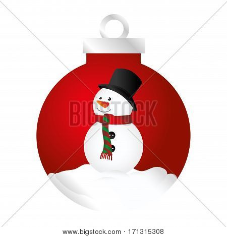 color silhouette of garland with snowman vector illustration