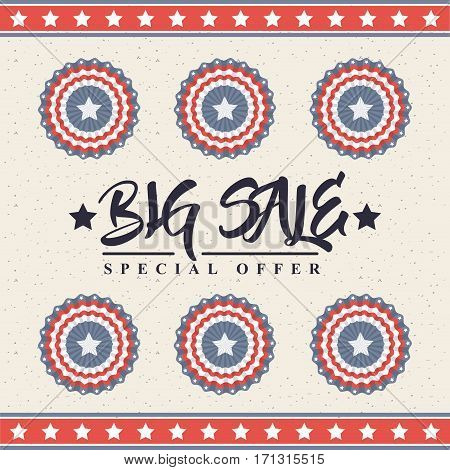 big sale card with decorative objects with usa flag colors. colorful design. vector illustration