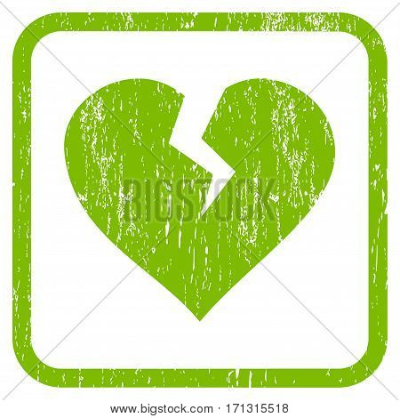 Heart Break rubber watermark. Vector pictogram symbol inside rounded rectangle with grunge design and scratched texture. Stamp seal illustration. Unclean light green ink sign on a white background.