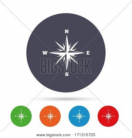 Compass sign icon. Windrose navigation symbol. Round colourful buttons with flat icons. Vector