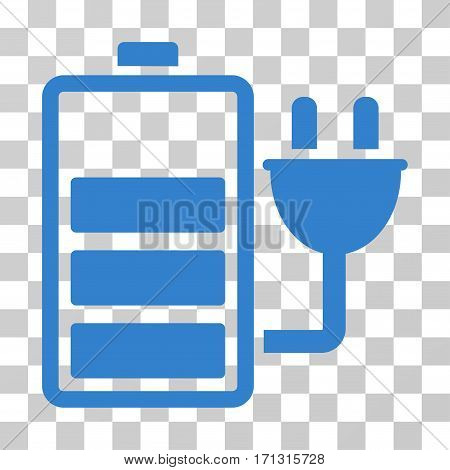 Charge Battery icon. Vector illustration style is flat iconic symbol cobalt color transparent background. Designed for web and software interfaces.