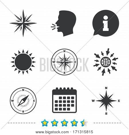 Windrose navigation icons. Compass symbols. Coordinate system sign. Information, go to web and calendar icons. Sun and loud speak symbol. Vector