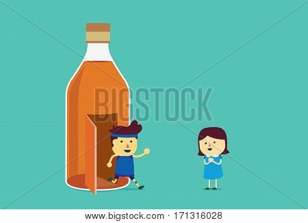 Man run out of liquor bottle for go to girlfriend. This illustration about quit drinking alcohol.