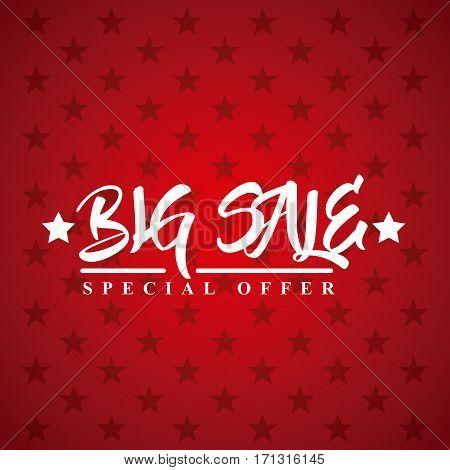 big sale card over red background. colorful design. vector illustration