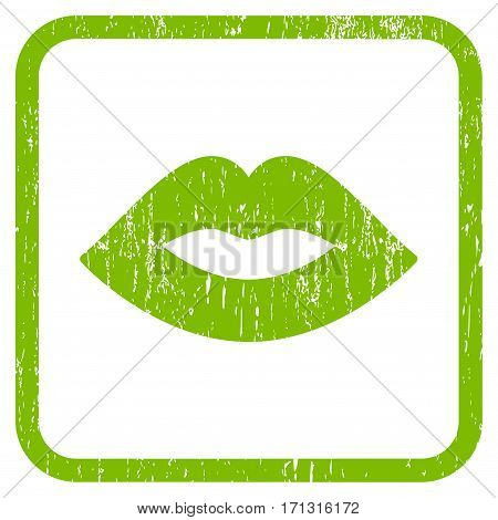 Lips rubber watermark. Vector icon symbol inside rounded rectangular frame with grunge design and dust texture. Stamp seal illustration. Unclean light green ink sign on a white background.