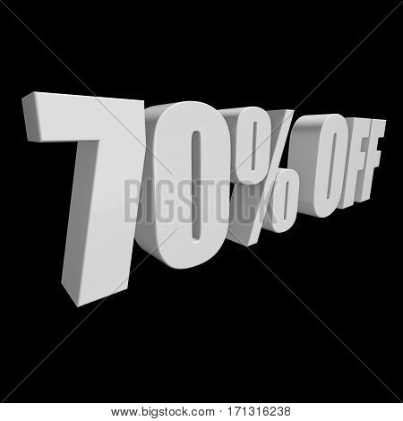 70 percent off letters on black background. 3d render isolated.