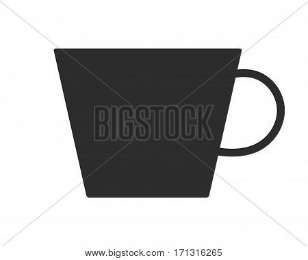 Coffee or tea cup. Mug for drinks. Black silhouette mugs, dishes. Vector illustration
