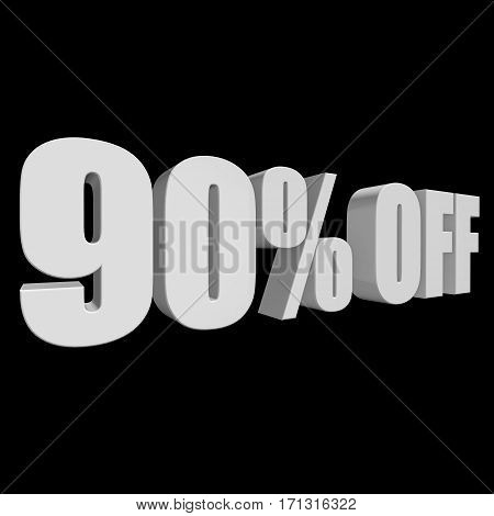 90 percent off letters on black background. 3d render isolated.