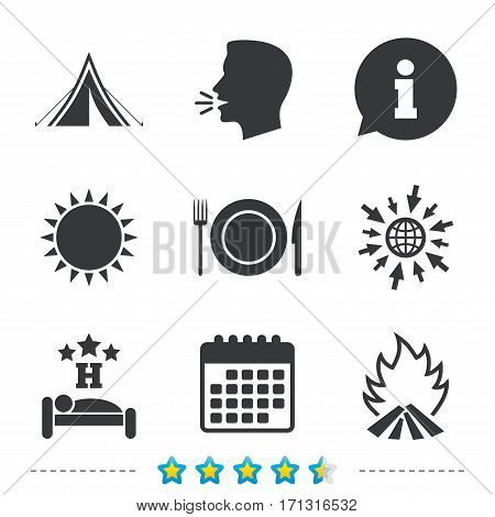 Food, sleep, camping tent and fire icons. Knife, fork and dish. Hotel or bed and breakfast. Road signs. Information, go to web and calendar icons. Sun and loud speak symbol. Vector