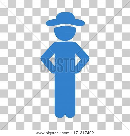 Gentleman Akimbo icon. Vector illustration style is flat iconic symbol cobalt color transparent background. Designed for web and software interfaces.