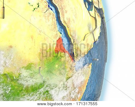 Eritrea In Red On Earth