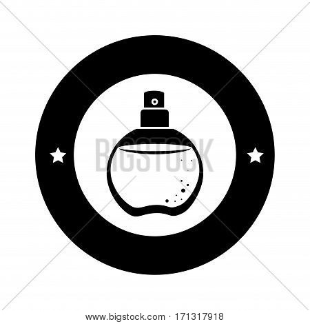 black circular border with fragrance and stars decorative vector illustration