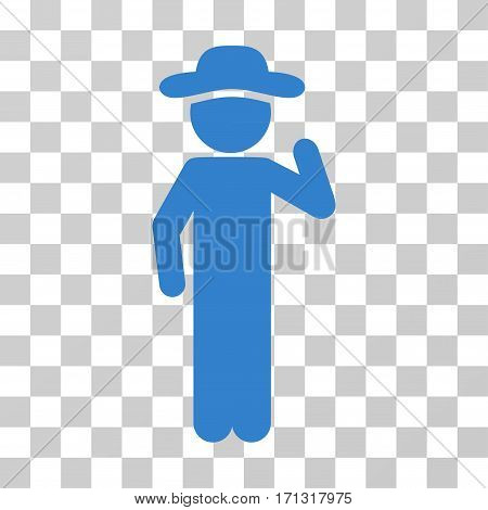 Gentleman Opinion icon. Vector illustration style is flat iconic symbol cobalt color transparent background. Designed for web and software interfaces.