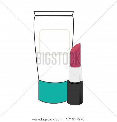 cream bottle and lipstick beauty products vector illustration