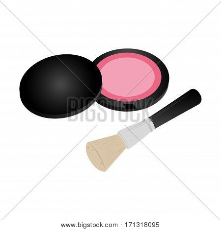 set collection blush with brush makeup vector illustration