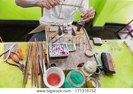 Desktop for craft jewellery making with professional tools in Sri Lanka workshop