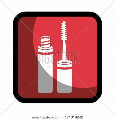 square button with eyelash makeup beauty product vector illustration