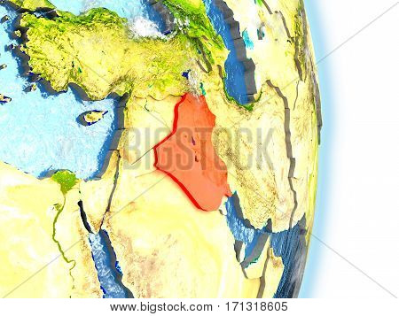 Iraq In Red On Earth