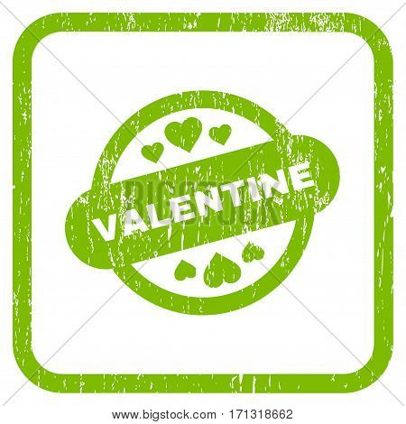 Valentine Stamp Seal rubber watermark. Vector pictogram symbol inside rounded rectangle with grunge design and unclean texture. Stamp seal illustration.