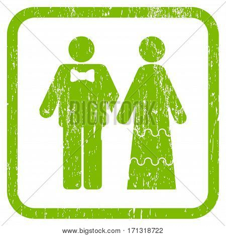 Wedding Persons rubber watermark. Vector icon symbol inside rounded rectangle with grunge design and dirty texture. Stamp seal illustration. Unclean light green ink sign on a white background.