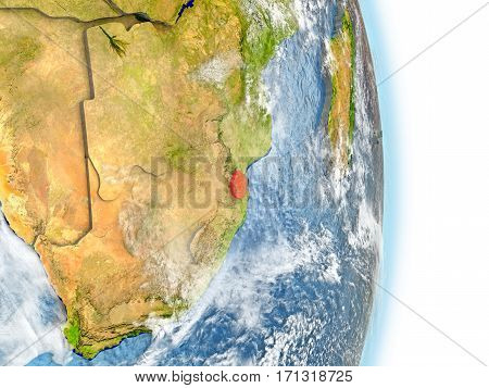 Swaziland In Red On Earth