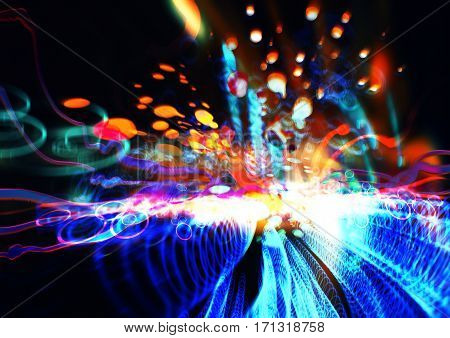 abstract science and technology conecptcolorful fractal paint and design elements, digital painting