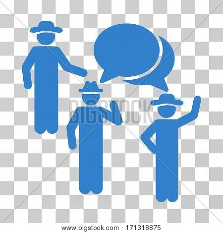 Gentlemen Discussion icon. Vector illustration style is flat iconic symbol cobalt color transparent background. Designed for web and software interfaces.