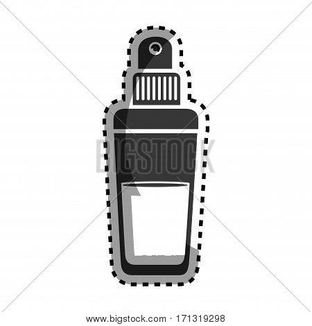 monochrome sticker with glass bottle spray fragrance vector illustration